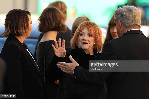 Eileen Bond the former wife of the late Alan Bond waves after arriving for the funeral service at St Patrick's Basilica on June 12 2015 in Perth...
