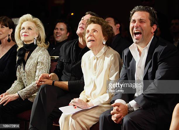 Eileen Ford listens along with Neal Hamil and Lynn Wyatt during a special award presentation made in her honor of her six decades in the modeling...