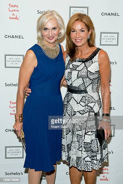 Eileen Guggenheim and Sonia Rolin attend 2013 'Take Home A Nude' Benefit Art Auction And Party at Sotheby's on October 8 2013 in New York City