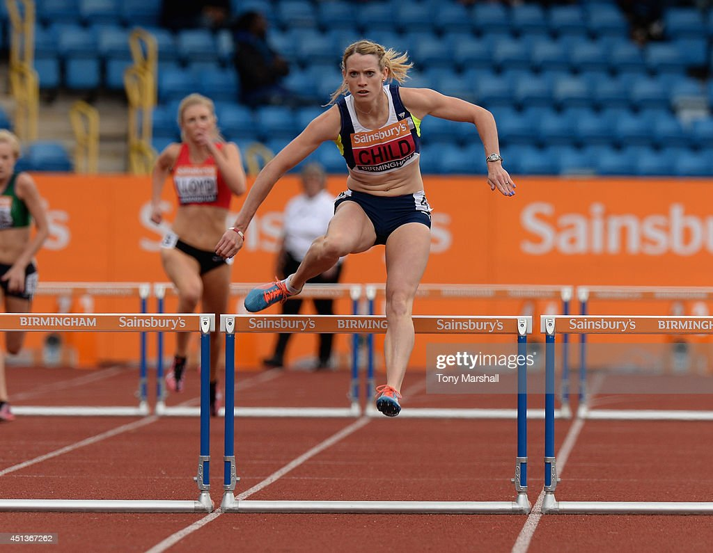 <a gi-track='captionPersonalityLinkClicked' href=/galleries/search?phrase=Eilidh+Child&family=editorial&specificpeople=6146746 ng-click='$event.stopPropagation()'>Eilidh Child</a> competing in the Women's 400m hurdles heats during the Sainsbury's British Championships Birmingham: Day Two at Birmingham Alexander Stadium on June 28, 2014 in Birmingham, England.