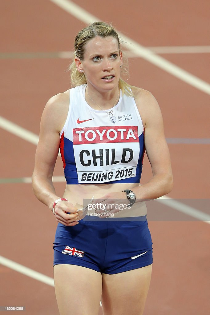 <a gi-track='captionPersonalityLinkClicked' href=/galleries/search?phrase=Eilidh+Child&family=editorial&specificpeople=6146746 ng-click='$event.stopPropagation()'>Eilidh Child</a> of Great Britain reacts after competing in the Women's 400 metres hurdles semi-final during day three of the 15th IAAF World Athletics Championships Beijing 2015 at Beijing National Stadium on August 24, 2015 in Beijing, China.
