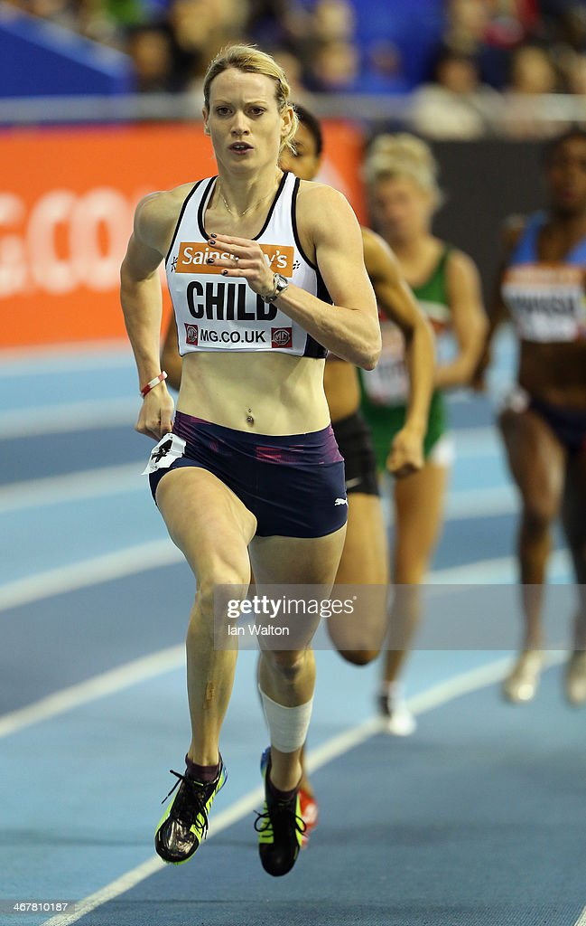 <a gi-track='captionPersonalityLinkClicked' href=/galleries/search?phrase=Eilidh+Child&family=editorial&specificpeople=6146746 ng-click='$event.stopPropagation()'>Eilidh Child</a> of Pitreavie in action during the Woman's 400m heats at the Sainsbury's British Athletics Indoor Championships on February 8, 2014 in Sheffield, England.