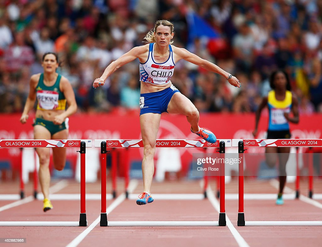 <a gi-track='captionPersonalityLinkClicked' href=/galleries/search?phrase=Eilidh+Child&family=editorial&specificpeople=6146746 ng-click='$event.stopPropagation()'>Eilidh Child</a> of Scotland competes in the Women's 400 metres hurdles heats at Hampden Park during day six of the Glasgow 2014 Commonwealth Games on July 29, 2014 in Glasgow, United Kingdom.