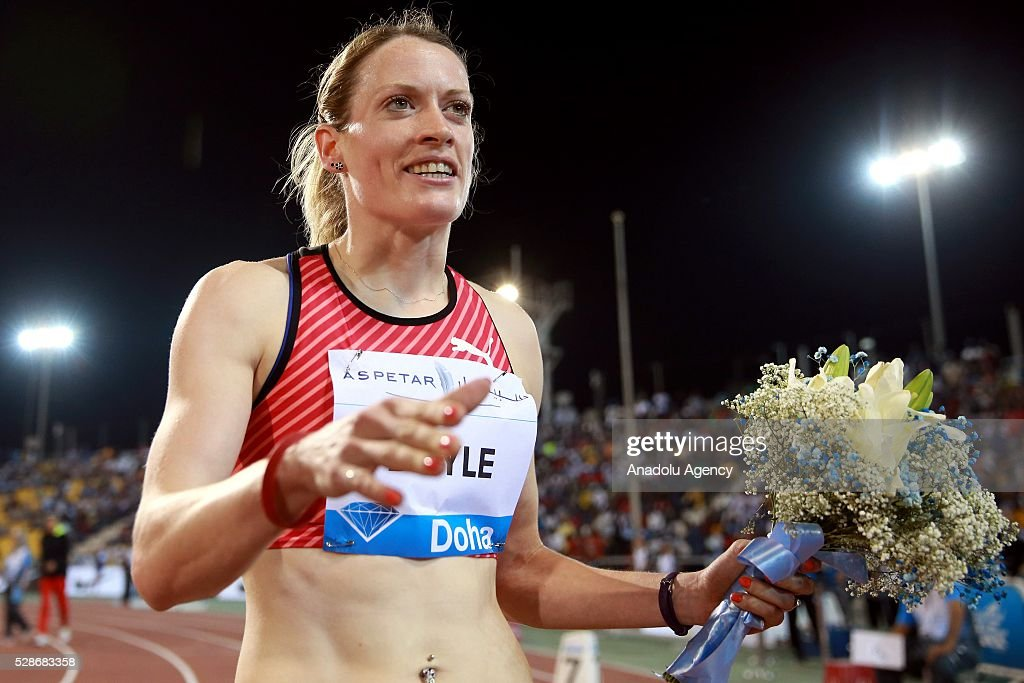 Eilidh Doyle of Great Britain celebrates after winning the women's 400 metres hurdles final at the Diamond League athletics at the Qatar Sports Club Stadium in Doha on May 6, 2016.