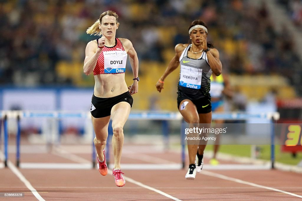 DOHA, QATAR - MAY 6. Eilidh Doyle (L) of Great Britain competes in the women's 400 metres hurdles final as at the Diamond League athletics at the Qatar Sports Club Stadium in Doha on May 6, 2016.