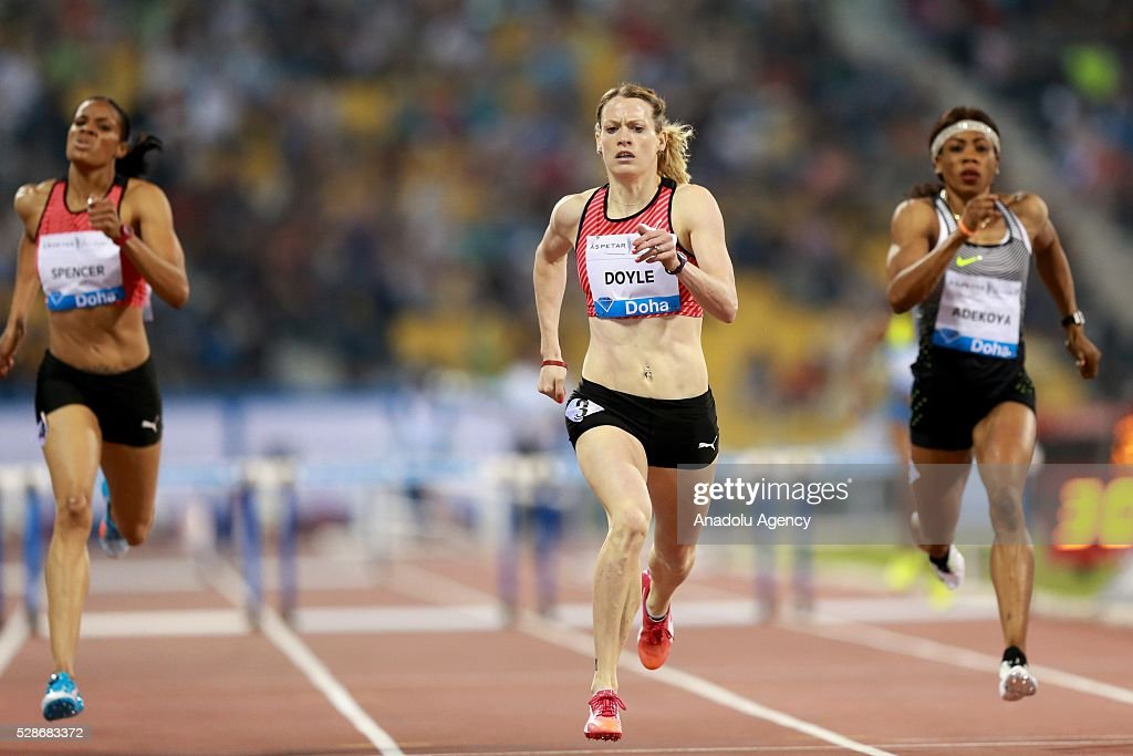 DOHA, QATAR - MAY 6. Eilidh Doyle (C) of Great Britain competes in the women's 400 metres hurdles final as at the Diamond League athletics at the Qatar Sports Club Stadium in Doha on May 6, 2016.