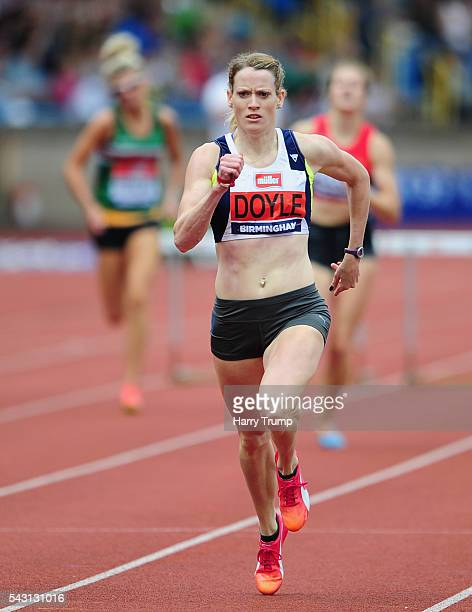 Eilidh Doyle on her way to victory in the Womens 400 Metres Hurdle Final during Day Three of the British Championships at Birmingham Alexander...