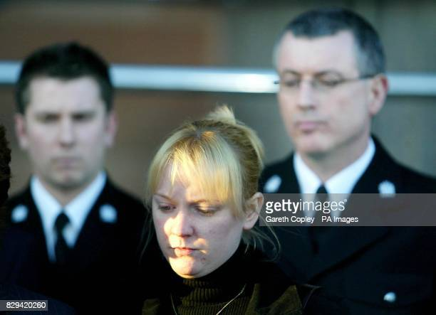 Eilisa Broadhurst wife of Ian Broadhurst with PC James Banks on and PC Neil Roper at a press conference at Newcastle crown courtfollowing the guilty...