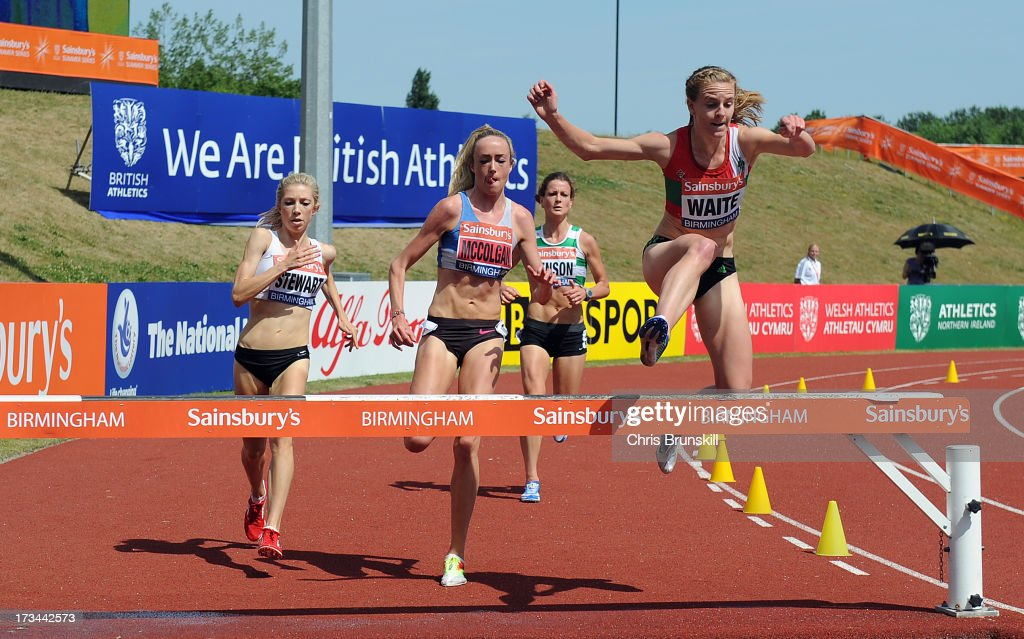Eilish McColgan (C) and Lennie Waite (R) compete in the 3000m steeplechase during day three of the Sainsbury's British Championships, British Athletics World Trials and UK & England Championships at Alexander Palace on July 14, 2013 in Birmingham, England.