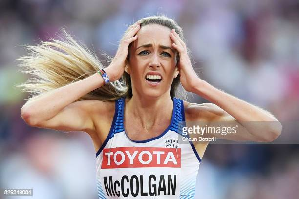 Eilish McColgan of Great Britain holds her head in her hands in reaction after the womens 5000 metres heats during day seven of the 16th IAAF World...