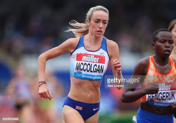 Eilish McColgan of Great Britain in action during the Women's 3000m race at the Muller Grand Prix Birmingham meeting at Alexander Stadium on August...
