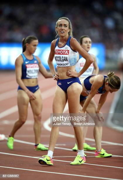 Eilish McColgan of Great Britain reacts after the Women's 5000 metres final during day ten of the 16th IAAF World Athletics Championships London 2017...