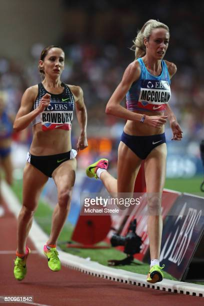 Eilish McColgan of Great Britain tracked by Shannon Rowbury of USA in the women's 3000m race during the IAAF Diamond League Meeting Herculis on July...