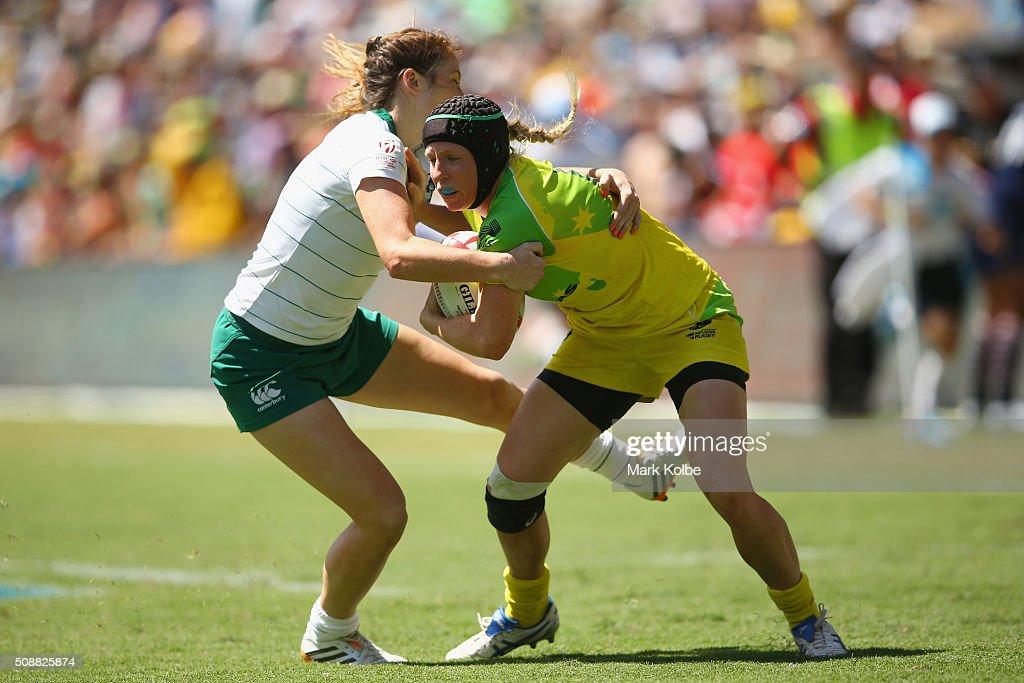 Eimear Considine of Ireland tackles Gemma Etheridge of Australia during the 2016 Sydney Sevens international friendly womens match three between Australia and Ireland at Allianz Stadium on February 7, 2016 in Sydney, Australia.
