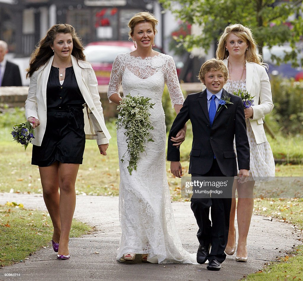Eimear Montgomerie (ex-wife of golfer Colin Montgomerie) arrives at St. Nicholas Church for her wedding to Nick Cook on September 20, 2009 in Cranleigh, England.