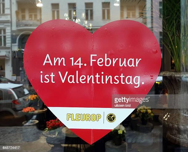 Ein Herz zum Valentinstag aufgenommen an einem Blumenladen in Berlin