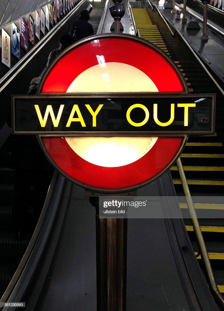 ein u bahn schild mit der aufschrift 39 way out 39 in london pictures getty images. Black Bedroom Furniture Sets. Home Design Ideas