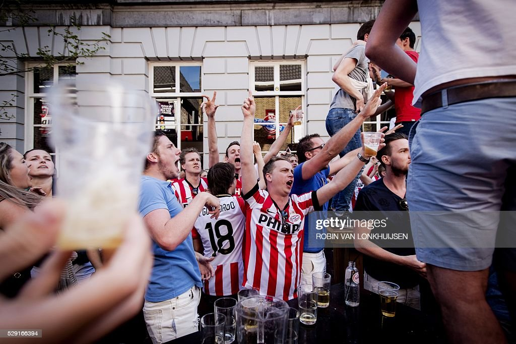PSV Eindhoven fans celebrate the national Soccer ...