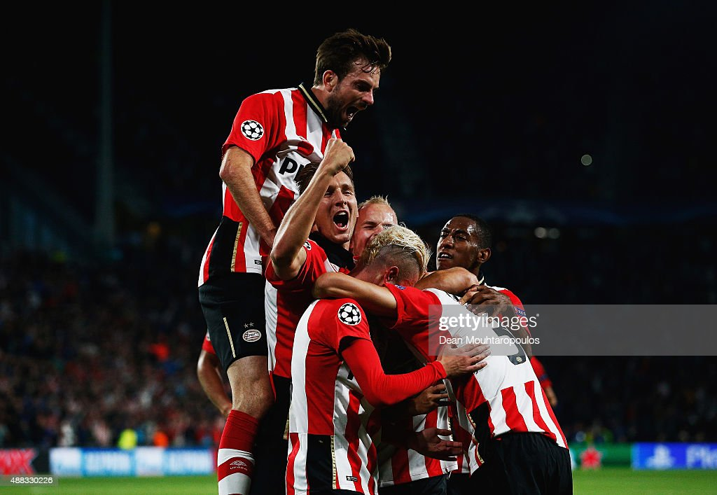 Eindhoven players celebrate the goal scored by Hector Moreno of PSV Eindhoven during the UEFA Champions League Group B match between PSV Eindhoven...