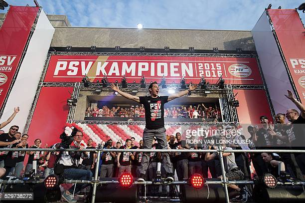 PSV Eindhoven's Andres Guardado and teammates celebrate with supporters during a ceremony to celebrate winning their 23rd Dutch football league title...