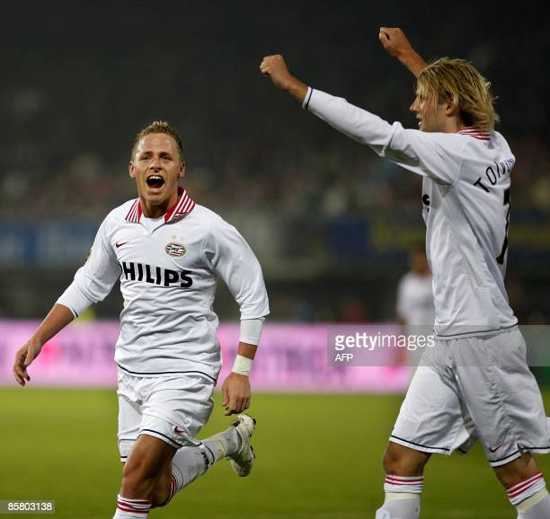 PSV Eindhoven's Balazs Dzsudzsak and teammate Ola Toivonen celebrate a goal during the Premier League football match against Sparta in Rotterdam on...
