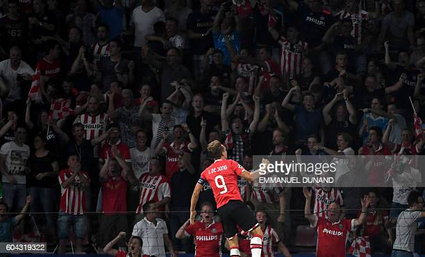 PSV Eindhoven's forward Luuk De Jong wrongly celebrates a goal during the UEFA Champions League football match between PSV Eindhoven and Atletico...