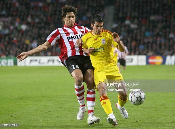 PSV Eindhoven's Manuel Da Costa and liverpool's Mark Gonzalez battle for the ball