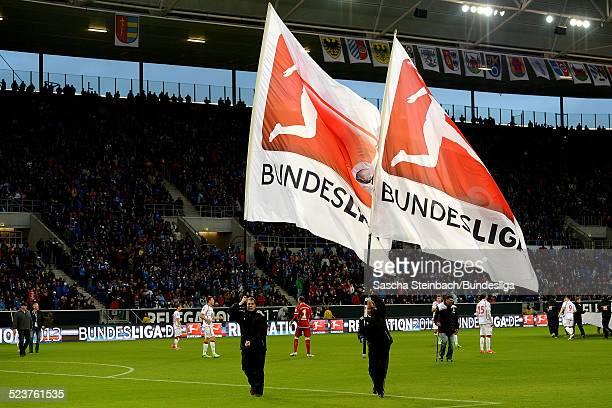 Einlaufszenario mit zwei Schwenkfahnen mit dem Branding und Logo der Bundesliga vor dem Relegationsspiel zwischen 1899 Hoffenheim und 1 FC...