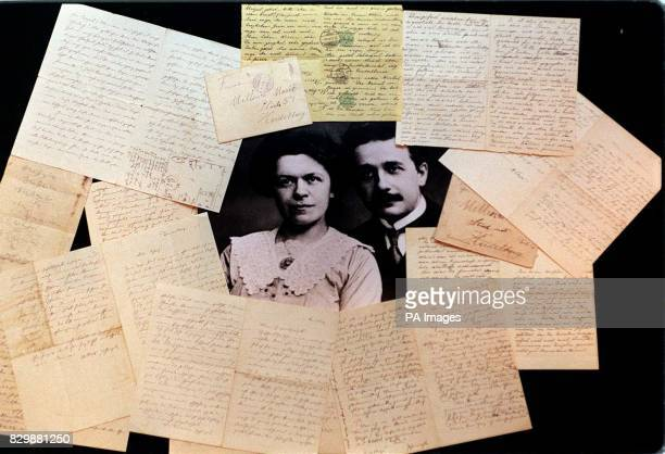 Einstein Family Correspondence including Albert EinsteinMileva Marie love letters surround a portrait of the couple before going under the hammer at...