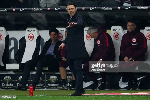 Eintracht Frankfurt head coach Niko Kovac gestures during the Bundesliga match between Eintracht Frankfurt and Borussia Dortmund at CommerzbankArena...