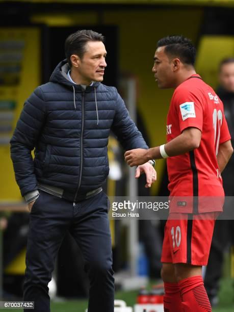 Eintracht Frankfurt head coach Niko Kovac gives instruction to Marco Fabian during the Bundesliga match between Borussia Dortmund and Eintracht...