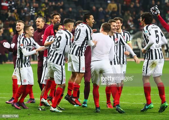 Eintracht Frankfurt players celebrate after their 21 win in the Bundesliga match between Eintracht Frankfurt and Borussia Dortmund at...