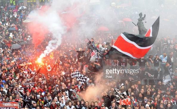Eintracht Frankfurt's fans celebrate promotion to the Bundeliga on May 06 2012 in Frankfurt am Main Germany