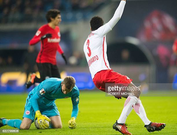 Eintracht Frankfurt's Finnish goalkeeper Lukas Hradecky keeps the ball outside the 16 meter field during the German first division Bundesliga...