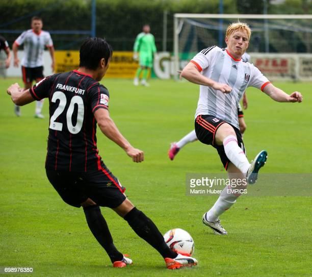 Eintracht Frankfurt's Makoto Hasebe and Fulham's Ben Pringle