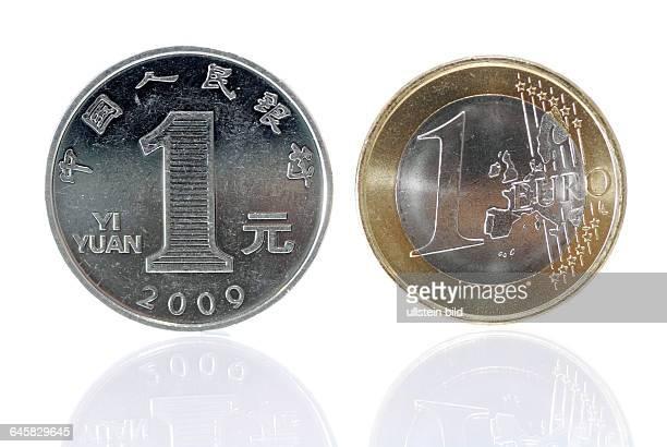 EinYuanMünze und EinEuroMünze Wirtschaftsentwicklung in China und Europa