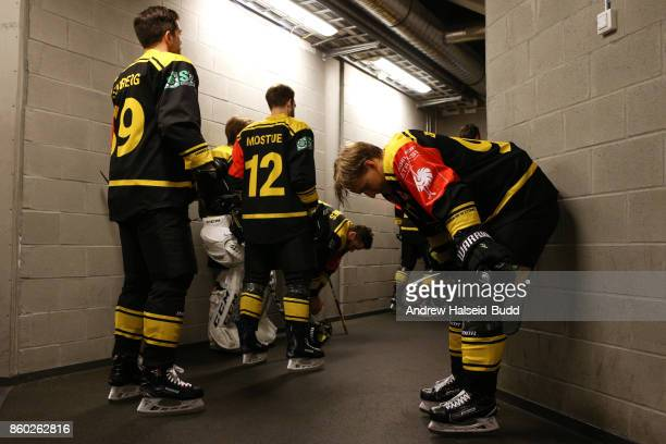 Eirik Borresen of Stavanger Oilers waits in the tunnel before the Champions Hockey League match between Stavanger Oilers and KalPa Kuopioat at the...