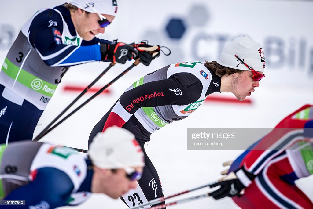 <a gi-track='captionPersonalityLinkClicked' href=/galleries/search?phrase=Eirik+Brandsdal&family=editorial&specificpeople=6567373 ng-click='$event.stopPropagation()'>Eirik Brandsdal</a> (3) and Fridtjof Vaksdal (23) of Norway semi final Men1,5 km sprint, Norwegian Championship Cross Country on January 30, 2015 in Roros, Norway.