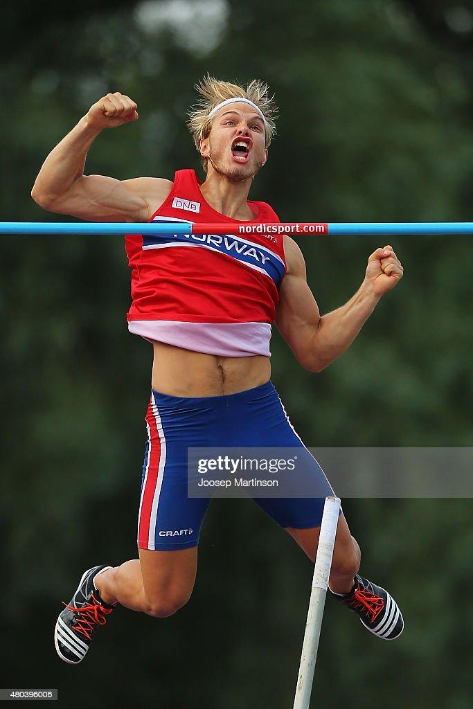 Eirik Greibrokk Dolve of Norway reacts in the Men's Pole Vault on day three of the European Athletics U23 Championships at Kadriorg Stadium on July 9...