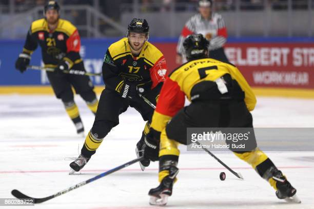 Eirik Salsten of Stavanger Oilers in action against Mikael Seppala of KalPa Kuopio during the Champions Hockey League match between Stavanger Oilers...