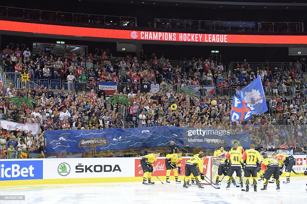 Eisbaeren Berlin fans with a fan banner before the game between the Eisbaeren Berlin and SaiPa Lappeenranta on august 21 2016 in Berlin Germany