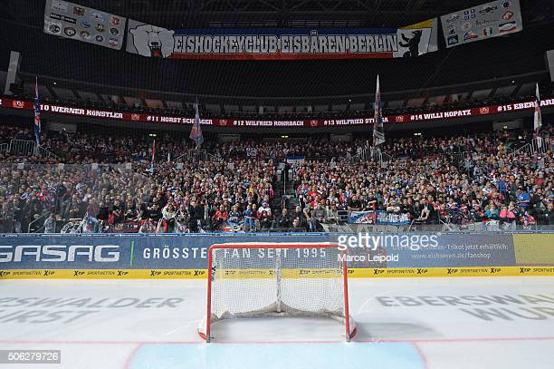 Eisbaeren fans during the DEL game between the Eisbaeren Berlin and Duesseldorfer EG on January 22 2016 in Berlin Germany
