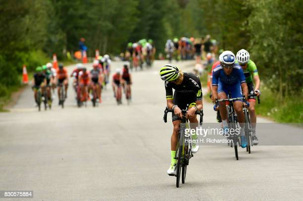 J Eisenhart looks back to see where the other riders are during stage 2 of the Men's Colorado Classic bike race on August 11 2017 in Breckenridge...
