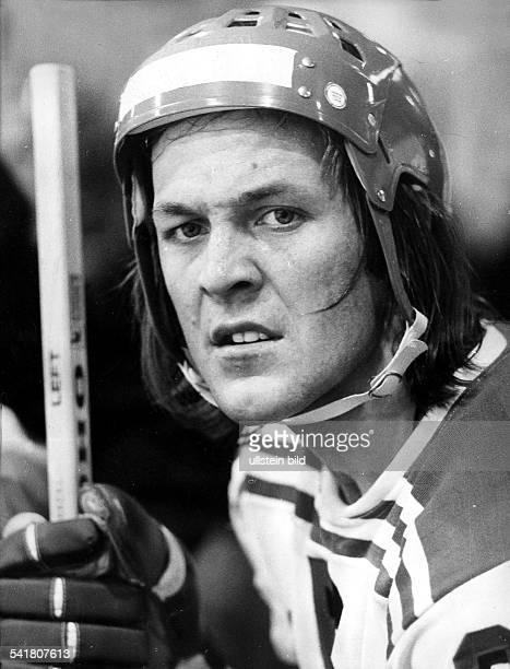Eishockey Spieler in Montur 1976