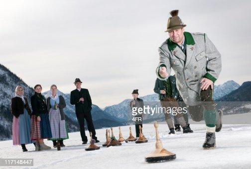 Eisstockschiessen, Curling on the Lake Grundlsee