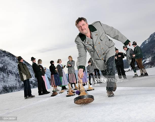 Eisstockschiessen, Curling auf dem See Grundlsee (XXXL
