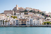 View of harbour in Eivissa town - the capital of Ibiza island, Spain