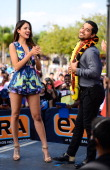 Eiza Gonzales and Wilmer Valderrama visit 'Extra' at Universal Studios Hollywood on May 19 2014 in Universal City California