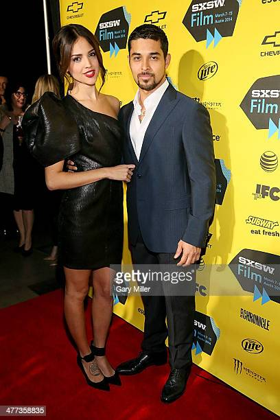 Eiza Gonzalez and Wilmer Valderrama pose on the red carpet for the 'From Dusk Til Dawn' TV Series premiere at the Austin Convention Center during the...