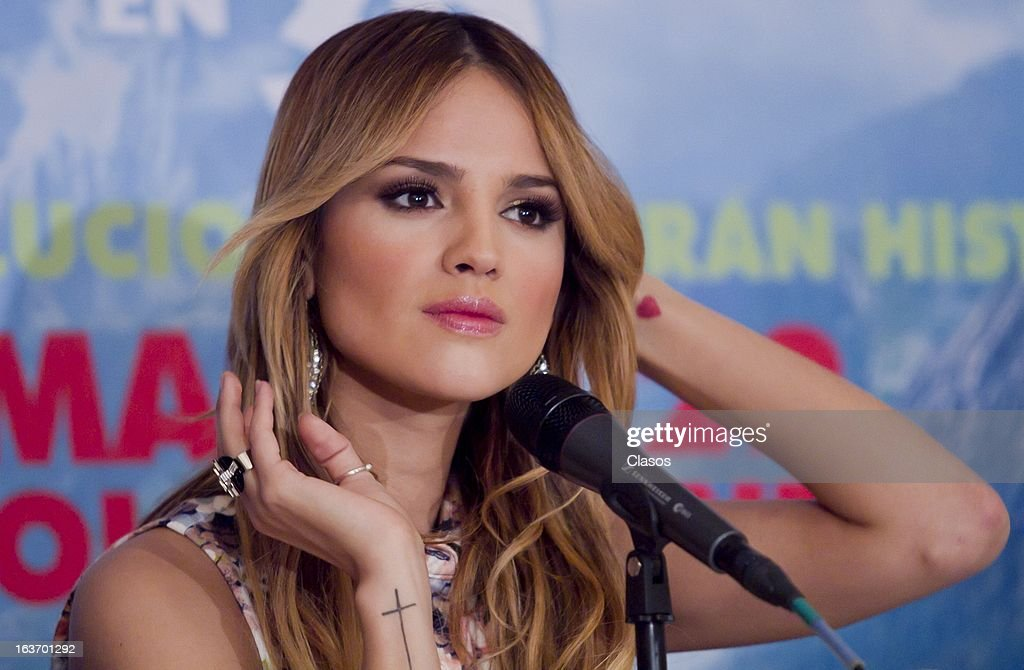 Eiza Gonzalez looks on during a press conference to present the movie Los Croods on March 14, 2013 in Mexico City, Mexico.